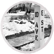 10 Ave And E St Belmar New Jersey Round Beach Towel