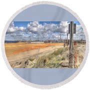 Round Beach Towel featuring the pyrography Construction by Yury Bashkin