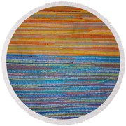 Round Beach Towel featuring the painting Identity by Kyung Hee Hogg