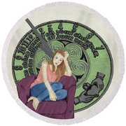 Round Beach Towel featuring the digital art 10 Months by Megan Dirsa-DuBois