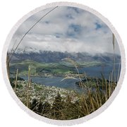 Queenstown New Zealand. Remarkable Ranges And Lake Wakatipu. Round Beach Towel