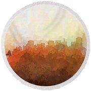 Round Beach Towel featuring the digital art San Francisco California Skyline by Marlene Watson