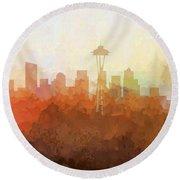 Round Beach Towel featuring the digital art Seattle Washington Skyline by Marlene Watson
