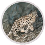 Round Beach Towel featuring the painting Snow Leopard by David Stribbling