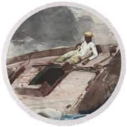 The Gulf Stream Round Beach Towel by Winslow Homer