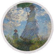 Woman With A Parasol Round Beach Towel