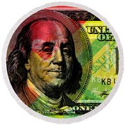 Benjamin Franklin - Full Size $100 Bank Note Round Beach Towel