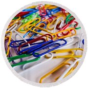 100 Paperclips Round Beach Towel by Julia Wilcox