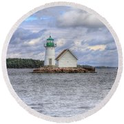 1000 Island Lighthouse Round Beach Towel by Sharon Batdorf