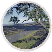 Round Beach Towel featuring the photograph 100924 Lava Covered Road Hi by Ed Cooper Photography