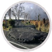 Round Beach Towel featuring the photograph 100925 Lava Flow On Road Hi by Ed Cooper Photography