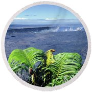 Round Beach Towel featuring the photograph 100960 Ferns And Halemaumau Crater Kilauea Caldera Hi by Ed Cooper Photography