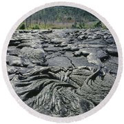 Round Beach Towel featuring the photograph 100964 Lava Flow Patterns Hi by Ed Cooper Photography