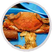 101516 Crab Boil Round Beach Towel