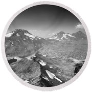 Round Beach Towel featuring the photograph 105723 Sisters From Broken Top Or by Ed Cooper Photography