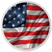 Usa Flag 1 Round Beach Towel