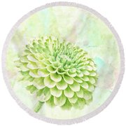 10891 Green Chrysanthemum Round Beach Towel