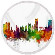 Boston Massachusetts Skyline Round Beach Towel