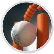 Cricket Ball Hitting Wickets Round Beach Towel
