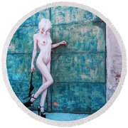 Round Beach Towel featuring the photograph Kelevra by Traven Milovich