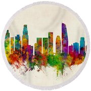 Los Angeles California Skyline Round Beach Towel by Michael Tompsett