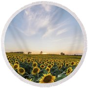 Sunflower Sunset Round Beach Towel