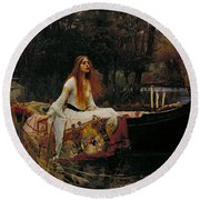 The Lady Of Shalott Round Beach Towel