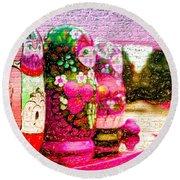 Russian Matrushka Dolls Wall Art Round Beach Towel