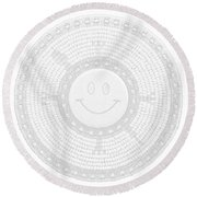 110-happy Face 0115 Wampum White Round Beach Towel