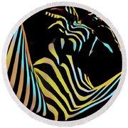 1149s-ak Dramatic Zebra Striped Woman Rendered In Composition Style Round Beach Towel by Chris Maher