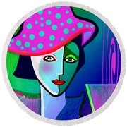 1150 - Her New Pocodot Hat 2017 Round Beach Towel by Irmgard Schoendorf Welch