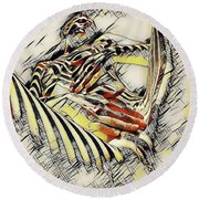 1177s-ak Abstract Nude Her Fingers On Pubis Erotica In The Style Of Kandinsky Round Beach Towel