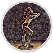 1192s-zac Nudes In The Style Of Antonio Bravo  Round Beach Towel
