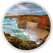12 Apostle Sunset Round Beach Towel by Az Jackson