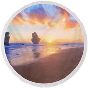 12 Apostles With Marshmallow Skies    Og Round Beach Towel