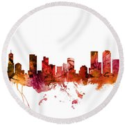 Denver Colorado Skyline Round Beach Towel