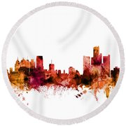 Detroit Michigan Skyline Round Beach Towel