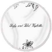 Hand Drawn Of Leafy And Salad Vegetable Round Beach Towel