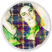 Round Beach Towel featuring the mixed media Irina Shayk by Svelby Art