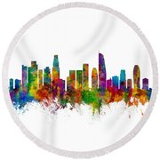 Los Angeles California Skyline Round Beach Towel