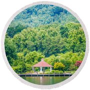 Scenery Around Lake Lure North Carolina Round Beach Towel