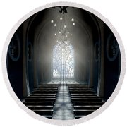Stained Glass Window Church Round Beach Towel