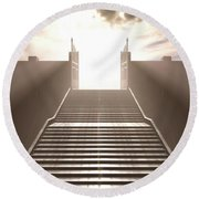 The Stairs To Heavens Gates Round Beach Towel