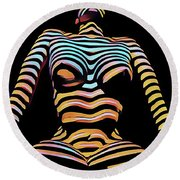 1205s-mak Seated Figure Zebra Striped Nude Rendered In Composition Style Round Beach Towel