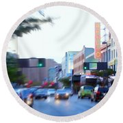 125th Street Harlem Nyc Round Beach Towel
