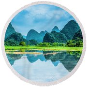 Karst Rural Scenery In Raining Round Beach Towel