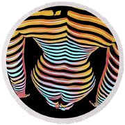 1262s-mak Woman's Strong Shoulders Back Hips Rendered In Composition Style Round Beach Towel
