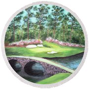 12th Hole At Augusta National Round Beach Towel