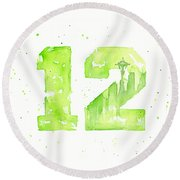12th Man Seahawks Art Go Hawks Round Beach Towel by Olga Shvartsur