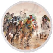 Round Beach Towel featuring the painting American  Pharaoh  Album  by Debbi Saccomanno Chan